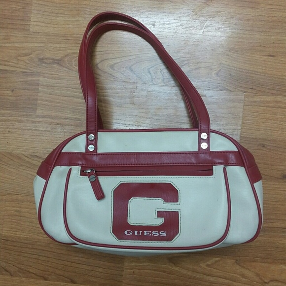 34bcb7f6299d Guess Handbags - GUESS Cream   Red Leather Letter